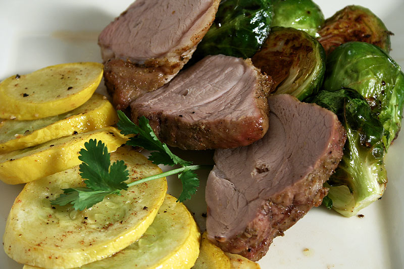 Spice-rubbed Pork Tenderloin with Roasted Brussels Sprouts and Squash ...