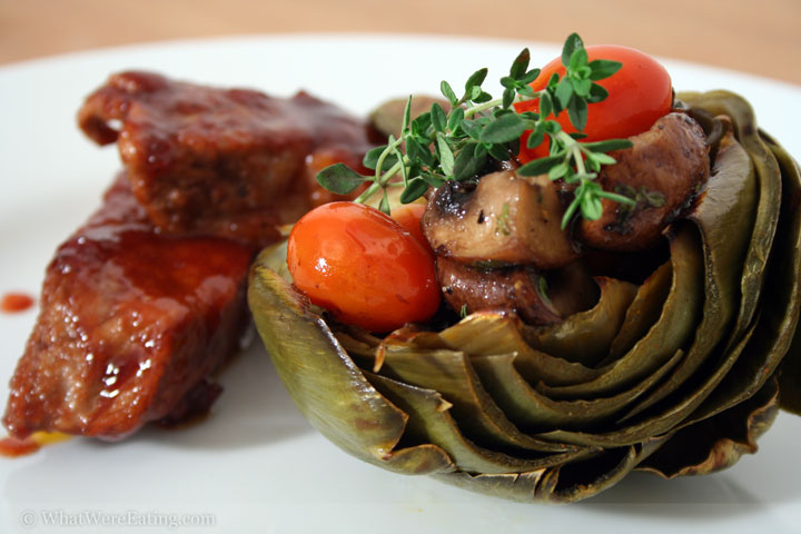 Boneless pork ribs, stuffed artichoke