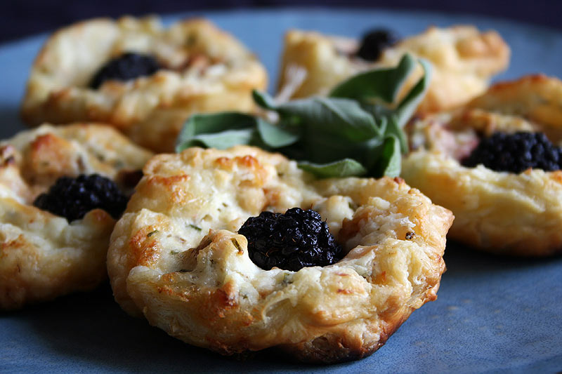 Blackberry and Smoked Fish Tarts