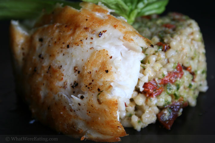 Seared mystery fish and barley salad