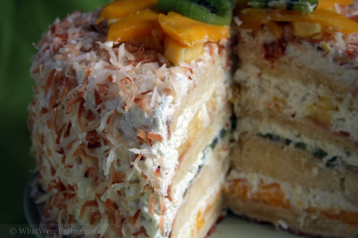 a piece of Tropical Coconut Cake