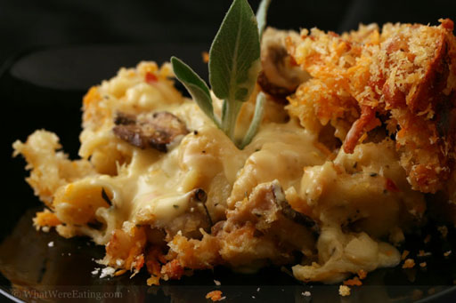 Wild Mushroom Macaroni and Three Cheeses with Truffle Oil