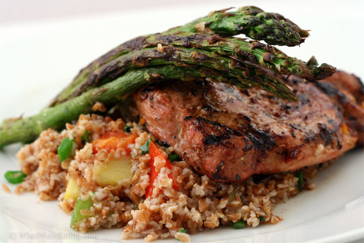 pork, bulgur, and asparagus