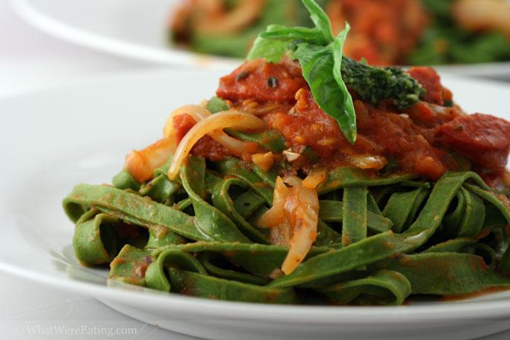 Green Pasta w/ Tomato Sauce