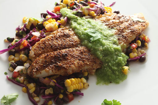 Baked Tilapia, Black Bean and Corn Salad and Salsa Verde