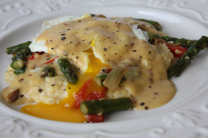spicy cheddar grits, sauteed asparagus, onions and roasted red peppers, with over easy egg and chipotle lime hollandaise