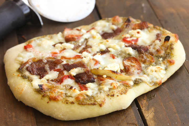 pizza with roasted jalapeno, culantro and pecan pesto