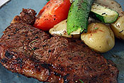 Grilled ribeye and grilled vegetables