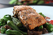 Salmon with Okra (and other veggies)