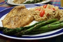 Spicy Baked Catfish, Sesame-ginger Rice, and Roasted Asperagus