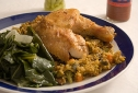 Roasted Chicken, Paella, and Collard Greens
