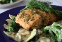 Lemon Dill Baked Salmon with Sauteed Vegetables and Farfalle in a Dill Mornay Sauce