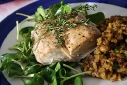 Baked Mahi-Mahi with Sunflower Sprouts and Curried Old World Pilaf