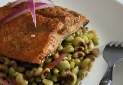 Lemon Balsamic Marinated Salmon with Purple Hull Peas