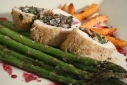 Stuffed Chicken, Roasted Asperagus, and Sweet Potato Faux Fries