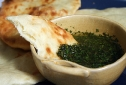 Homemade Naan with Mint Chutney