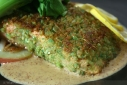 Wasabi-Pea Encrusted Salmon w/ Potatoes and Bok Choy