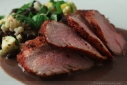 Achiote marinated pork tenderloin with black bean banana sauce