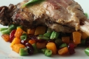 duck confit with butternut squash succotash