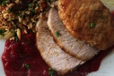 Curry Brined Pork Roast with Curried Cranberry Apple Sauce