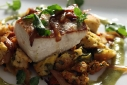 Knorr Contest Entry: Seared Mahi w/ Chorizo, Poblano &amp; Caramelized Onion Stuffing &amp; Roasted Garlic Tomatillo Sauce