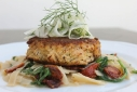 Lump Crab Cakes w/ Arugula &amp; Oven-Dried Tomato Knorr Fettuccine Scampi