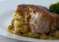 Cornbread, Apple, and Cheddar Stuffed Pork Chops