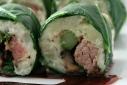 Prime Rib Sushi w/ Parsnip Potato Mash, Roasted Asparagus, Sauteed Portobellos and Collard Greens